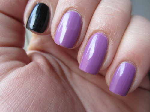 "zoya ""perrie"" and zoya ""raven"" i love black with any ""girly"" color! perrie is seriously one of the best zoya i've ever bought! almost opaque in one coat, the formula is easy to work with and its a freaking pretty color!  and raven is your typical black and needed 2 coats"