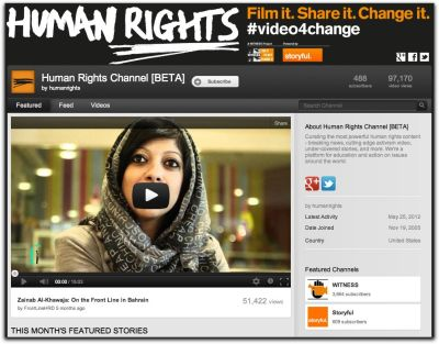 YouTube Launches Human Rights Channel Via the YouTube blog:  Activists around the world use YouTube to document causes they care about and make them known to the world. In the case of human rights, video plays a particularly important role in illuminating what occurs when governments and individuals in power abuse their positions. We've seen this play out on a global stage during the Arab Spring, for example: during the height of the activity, 100,000 videos were uploaded from Egypt, a 70% increase on the preceding three months. And we've seen it play out in specific, local cases with issues like police brutality, discrimination, elder abuse, gender-based violence, socio-economic justice, access to basic resources, and bullying. That's why our non-profit partner WITNESS, a global leader in the use of video for human rights, and Storyful, a social newsgathering operation, are joining forces to launch a new Human Rights channel on YouTube, dedicated to curating hours of raw citizen-video documenting human rights stories that are uploaded daily and distributing that to audiences hungry to learn and take action. The channel, which will also feature content from a slate of human rights organizations already sharing their work on YouTube, aims to shed light on and contextualize under-reported stories, to record otherwise undocumented abuses, and to amplify previously unheard voices. The project was announced today at the Internet at Liberty conference, and will live at youtube.com/humanrights. Storyful will source and verify the videos, and WITNESS will ensure the channel features a balanced breadth of issues with the context viewers need to understand the rights issue involved. We hope this project can not only be a catalyst to awareness, but offer people new avenues for action and impact. The channel is committed to providing new citizen creators as well as viewers with the tools and information necessary so that every citizen can become a more effective human rights defender. It will also be available on Google+, where the broader human rights community can take part in discussions, share material, and find collaborators.  Image: Screenshot the Human Rights YouTube channel.