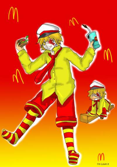 inspired by the Vocaloids' McDonald design… here i made OliverDonald!Dun worry.. the stain on his bandage is not BLOOD… it's just ketchup…  submission by dacy02