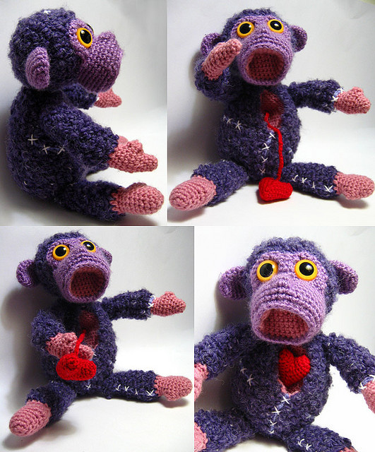 "lab monkey by jellbat  another creation from my archives This test lab monkey was made for a Toy art show called ""Medical experiments in plush""  held at PUSH Skateshop, Asheville, NC USA, in 2007."