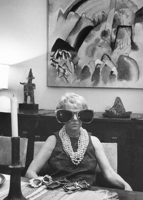 steroge:  Peggy Guggenheim enjoying some quality time with (at least some of) her sunglasses, Venice, 1960s