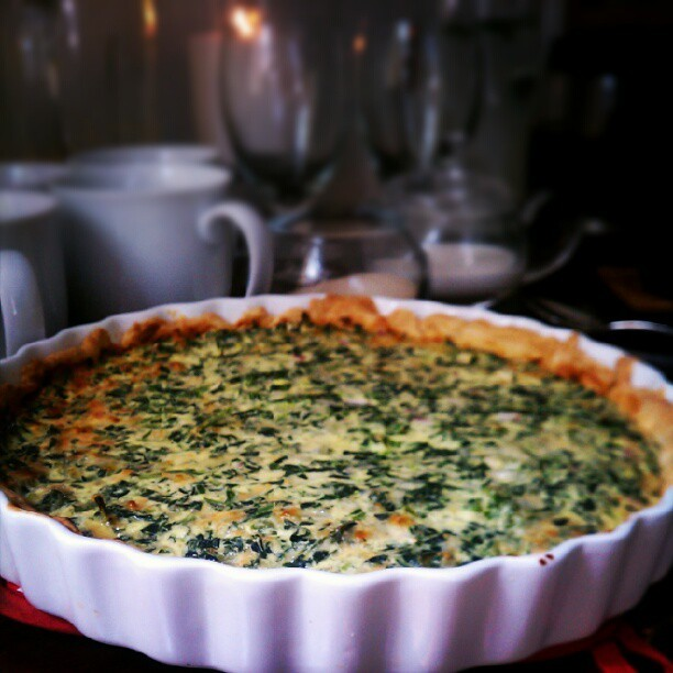 Spinach, Cheddar, and Parmesan Quiche (Taken with instagram)