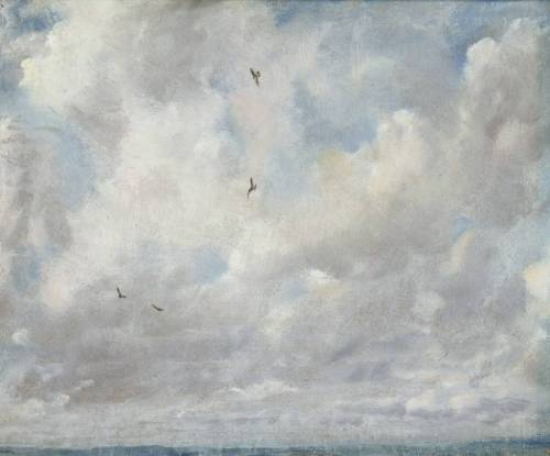 "Cloud Study, 1821, John Constable  With John Constable, we often have to be a little wary of the set-piece ventures, those moments when he is evidently painting to impress. Some of his so called ""six-footers"" of the 1820s are such works. He seems to be measuring out his experiences by the ladleful, balancing this hedge against that gate, this band of soaring sky against that steeple. All feels too exquisitely composed and even controlled.  By contrast, he is often at his best, and most seemingly and passionately committed to the work in hand, when he is doing something almost for its own sake, and the subject itself feels to be scarcely much of a subject at all – that is how we often think about his cloud studies over Hampstead Heath, for example, that they are tiny notations, as much movements towards as finished works. And yet these studies are often so exquisite precisely because they look snatched, impromptu, unpremeditated, uncalculated to please the potential purchaser. The fact is that Constable seems to be forgetting himself even as he is painting them, so thoroughly absorbed is he into the spectacle. This small, oil-on-paper cloud study of 1821, painted in the same year as The Hay Wain, is such a painting. It has a brilliant, carefully careless zestfulness about it. It is intemperate, almost rushing. It swings and blows and blusters in all directions at once. Constable's thrilled eye seems to suggest that the world has been reborn in a mood of rapture. The clouds are in state of constant movement, both receding from us and surging forward towards us, ever playfully refashioning themselves as they scud along. If we looked at an image of this painting, we would have no idea of its size. It could be enormous. Its subject matter – the heavens yawning wide – makes it feel enormous. In fact, it is less than one-foot square; its overreaching subject matter is contained, confined, within the narrowest of compasses. The painting is both light and insubstantial with its play of ever fleeting colours, and also robustly present – see how the greys and the yellows and the pinks seem to thicken it out, giving it body and substance, a kind of forcefulness and feistiness. Like a child staring up, we almost will these clouds, these sometimes lumpish and occasionally breathtakingly graceful maelstroms, to become recognisable shapes. There is a being up there somewhere, we idly speculate, among, behind, within all that reeling limitlessness, even if he is a creature of our fancy. If the clouds are carelessly self-renewing, self-refashioning, this tiny handful of birds ranging around the skyways is quite the opposite. They are painted with a great attention to character and very particular movement. One appears to hang, idling, in the air, wind-buoyed; another makes a sudden diving, turning curve; yet another seems to float, almost effortlessly. The presence of these birds helps to give the painting some sense of a foreground and a background. We seem to be dealing – it is all a pretty illusion, of course – with near calculable depths of space. The narrow strip of landscape at the painting's foot also roots it in a particular, though fairly indeterminate (not so to Constable himself, of course) location. This is fairly unusual for the cloud studies of these years, which often consist of nothing but wheeling, vertigo-inducing voids of sky that seem to exist everywhere and nowhere all at once.  Constable himself described this painting, on its verso, so humbly, so matter-of-factly: ""Sep.r 28. 1821/Noon – looking. North. West./ Windy from the S.W./large bright clouds flying rather fast/very stormy night followed""."