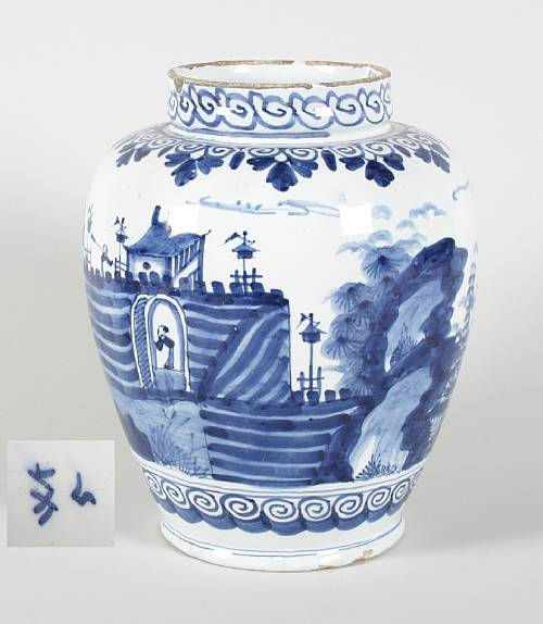 A Dutch Delft jar. Circa 1720-40. via