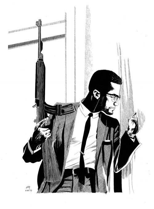 douglaswolk:  Dave Sim draws Malcolm X! Wow.  Interesting…. I'm fascinated by the way Sim draws clothing (the suit feels more formal for some reason…) Click here for the original.