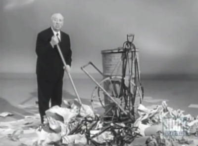 "Pictured above: Sir Alfred Hitchcock, dealing with the fallout of ""so bad it's good"" film theory."