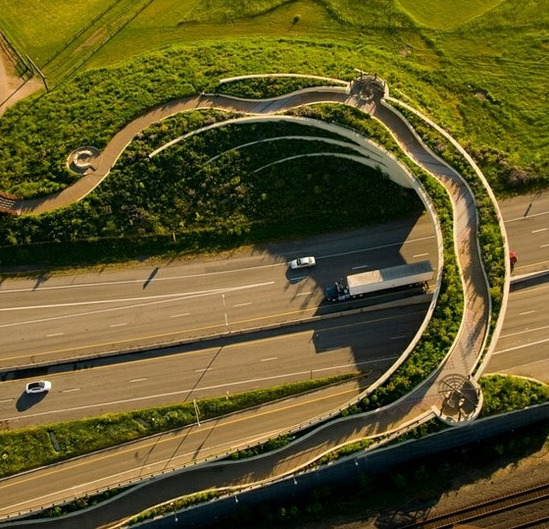 carex:  This Land Bridge, designed by Seattle firm Jones & Jones Architects and Landscape Architecture, connects Historic Ft. Vancouver, Washington to the Columbia River waterfront in the U.S.    Puente bonito.