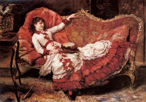 oilpaintinggallery:  An Elegnat Lady in a Red Dress Artist: Eduardo Leon Garrido