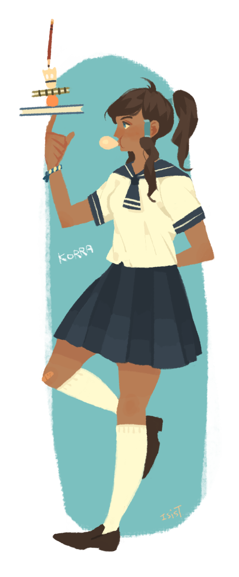 polapaz321:  korra- student uniform  Ha ha, the Band-Aid on her knee is a great touch. Man, I am constantly blown away by the amount of high quality and imaginative fan art for Korra. This artist isisT in Taiwan is incredible! You can follow her on Tumblr and DeviantArt. (I know there is a collection of her pieces going around, but I wanted to reblog this stellar stuff from the artist directly.)