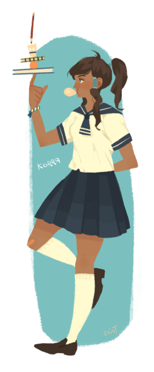 bryankonietzko:  polapaz321:  korra- student uniform  Ha ha, the Band-Aid on her knee is a great touch. Man, I am constantly blown away by the amount of high quality and imaginative fan art for Korra. This artist isisT in Taiwan is incredible! You can follow her on Tumblr and DeviantArt. (I know there is a collection of her pieces going around, but I wanted to reblog this stellar stuff from the artist directly.)