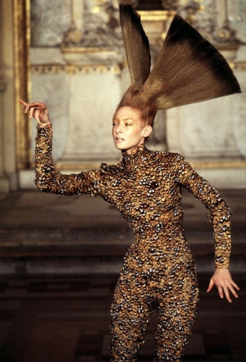Givenchy Haute Couture Spring/Summer 1997, Alexander McQueens debut Haute Couture collection for the house of Givenchy. This collection was deemed unsuccessful by french press and Karl Lagerfeld dismissed Alexander McQueen as a 'Damien Hirst type of shock artist' despite this Alexander McQueen remained as the Head Designer of Givenchy for 5 years, and left the house in 2001 to focus solely on his own brand.   As you can see from this particular creation, even in Alexander McQueens earlier work birds acted as a vital source of inspiration.