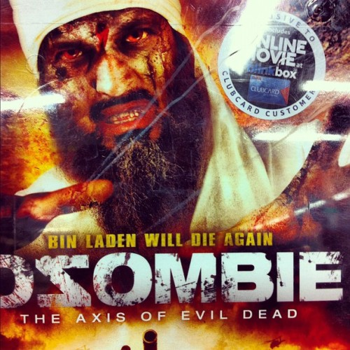 OZOMBIE!!!! (new best film?) #ozombie #zombie #terror #terrorist #binlarden #dvd #tesco #freak #odd #toomuch #silly #fun #giggles #lol #movie #film #cinema #popcorn #madness #bored #monster #blood #army #america #waronterror    (Taken with instagram)