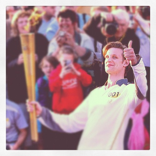 Matt Smith (11th Doctor Who) carries te Olympic Torch through Cardiff #DoctorWho #2012OlympicLondon (Taken with Instagram at Gallifrey)