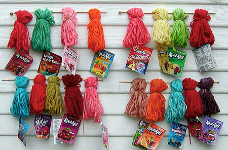 http://knitty.com/ISSUEfall02/FEATdyedwool.html How to dye your own yarn using Kool-Aid  I'm definitely gonna be doing this over the summer. I have the perfect yarn to use this on too.