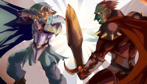 fuckyeahlink:  Super Fierce Deity Link Vs. Ganondorf by ~daremaker
