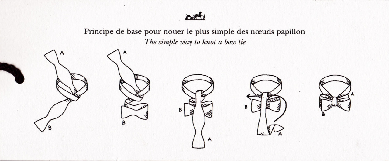 How to tie a Bowtie. By Hermès (French pronunciation: [ɛʁmɛs], English: /ɛərˈmɛz/ (listen)). Thus the right way.