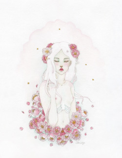peony nymph watercolour, gold acrylic and graphite  by Calliope Bridge
