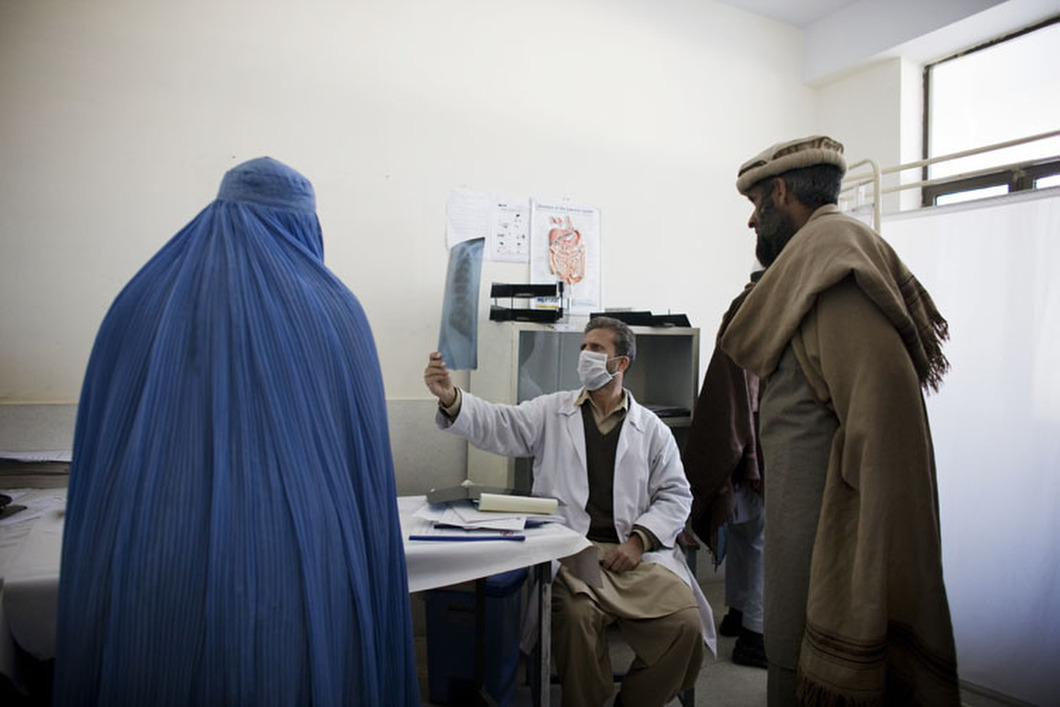 Doctors shows patients x-rays in a clinic outside Jalalabad. Even after more than a decade of foreign aid, healthcare remains some of the worst in the world. Photo: Mikhail Galustov The war in Afghanistan is not over. Help us tell the story. Fund our Kickstarter.