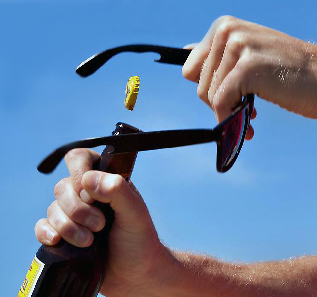 Wayfarers with bottle-opener. #win #fashion