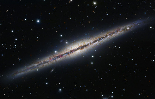 (via APOD: 2012 May 26 - At the Edge of NGC 891) NGC 891 is edge-on to us, as you can see in this Subaru/Hubble combination. This allows us to have a better view of the dust and gas blown away from the plane of the galaxy in filaments. This is likely from supernovas or star formation in the disk itself. Credit: Composite Image Data - Subaru Telescope (NAOJ), Hubble Legacy Archive, Michael Joner, David Laney (West Mountain Observatory, BYU); Processing - Robert Gendler