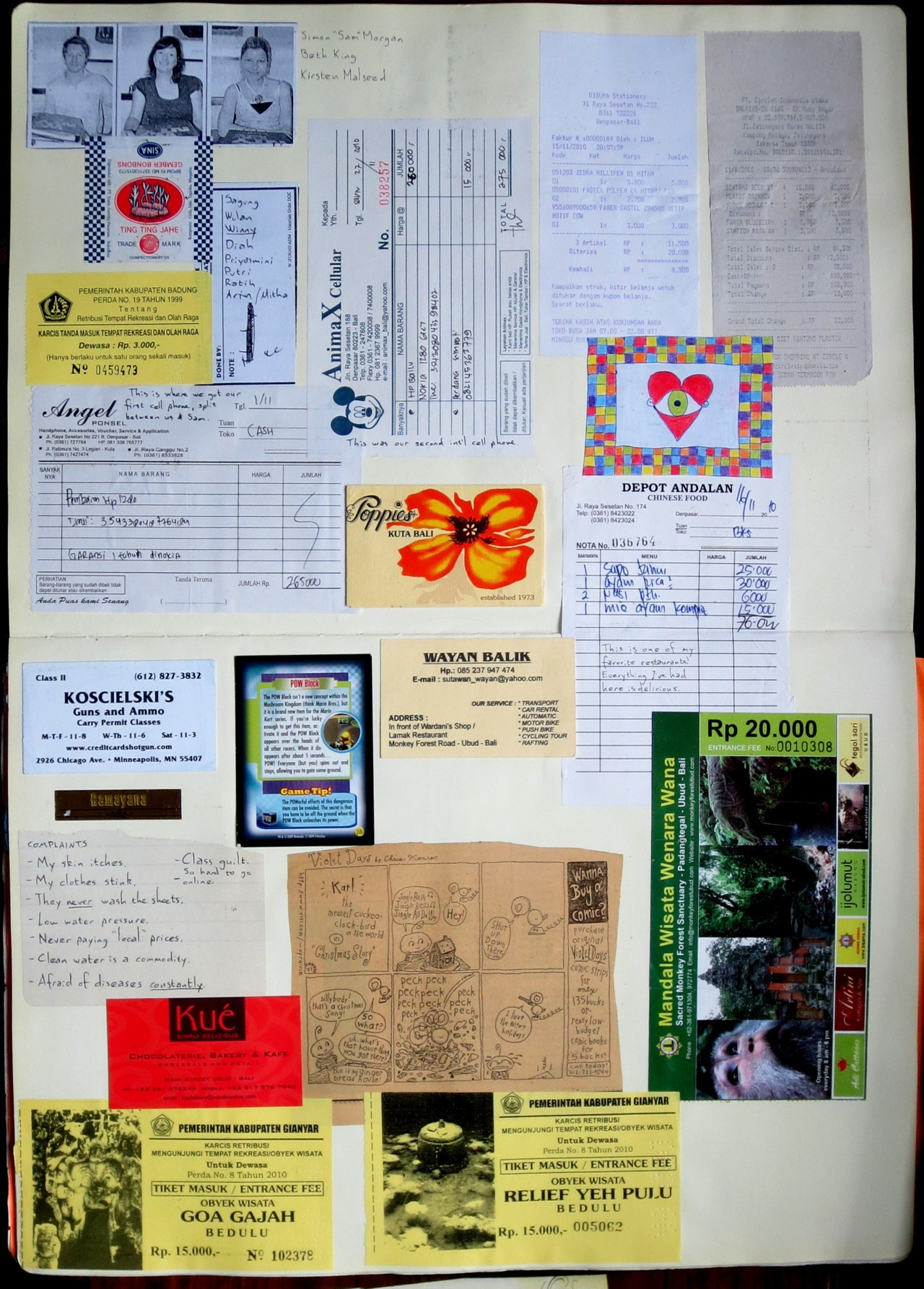 My scrapbook from SE Asia. Everywhere we went, I saved brochures, business cards, flyers, receipts, all sorts of printed things and tried to group them in more or less chronological order, with handwritten notes and captions, to tell another kind of story of our trip.