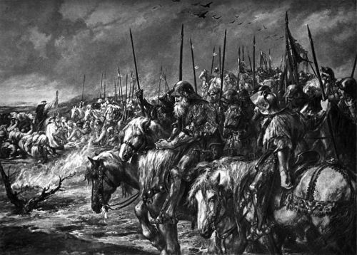 tatteredbanners:  Morning of Agincourt by John Gilbert The battle of Agincourt, in which around 7,000 English Knights and archers defeated a French army of over 20,000  Then again, who ever managed not to defeat French …