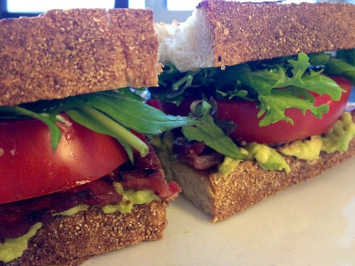 The first really good BLT of the year. Mangalitsa bacon, fresh greenmarket tomatoes and lettuce, and avocado.