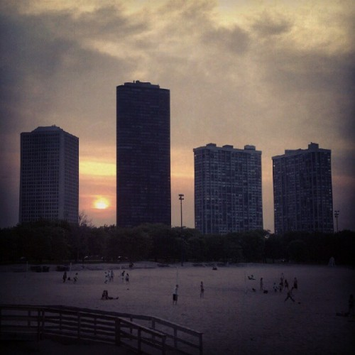 Foster #beach #Chicago at sunset. (Taken with instagram)