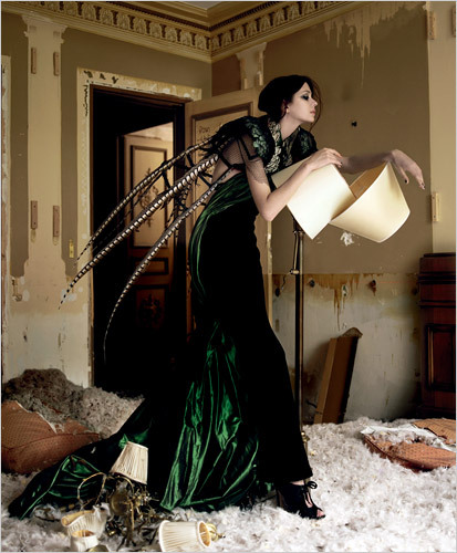 dark green vampire jean paul gauthier dress