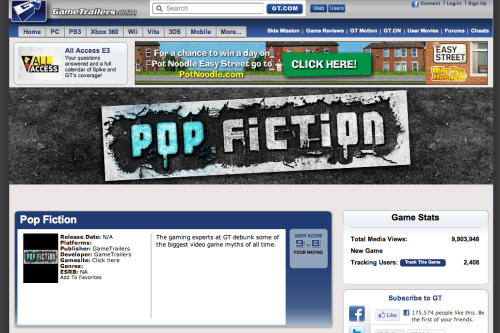 Pop Fiction. It's from GameTrailers, but it's the section that's a favourite of mine. It goes though a game every few weeks to see if a myth known for years is actually true, be it if theres a way to get the Triforce in Ocarina of Time, to seeing if Mew can be collected legitimately in Pokemon Red and Blue. If any of that paragraph means anything to you, click the link below! Source.