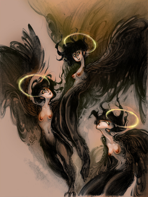 efflyafterdark:  More folklore; Gamayun are Russian bird/woman hydrids who serve as omens and are icons of wisdom and knowledge.  It is also said that when they die, they become archangels.