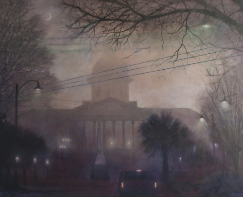 "Blue Sky Gallery - ""Foggy Dome"" by Blue Sky Foggy Dome (2012) - Oils on Canvas. Blue Sky's first painting of 2012. A foggy view of the South Carolina State House."