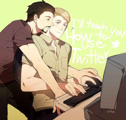 silverhairedwolf:  Tony/Steve: Twitter by *mixed-blessing