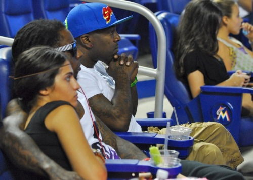 Miami Nights! Hip hop superstar Lil Wayne takes in the action at Marlins Park.