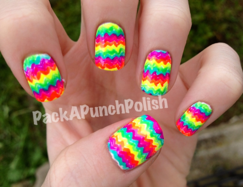 Rainbow neon zigzags