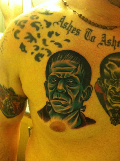 This is my new addition to my classic horror monster chest piece being done by Sergio Hernandez at Seven Seas Tattoo in San Diego, CA.  Why I got it?  I've just had a crazy fascination for horror movies ever since I could remember…so why not get some of the founding fathers done?
