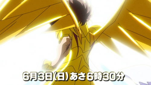 Summary for episode 10 from TV Asahi (the Seiya picture is from footage episode 1, don't get too excited… for some reason Toei is actually trying to prevent spoilers this time around, almost the entire preview has stock footage that will definitely not be in the episode)Episode 10: Desesperate Rescue! One More Gold Saint Kouga's group finally arrives to the Sanctuary, but they're shocked at what they find there. The Sanctuary and the Twelve Houses of the Gold Saints have been destroyed! In their place, the construction of a mysterious tower has begun. The tower is called Babel and the blue-haired girl that helped Kouga is kept inside. In order to rescue her, Souma, Ryuho and Haruto decide to act as decoys so that Kouga and Yuna are able to infiltrate the tower. The fact that, other than Kouga, Yuna is going to be the only one actually infiltrating the tower kinda increases the chances of the other Gold Saint being her teacher…