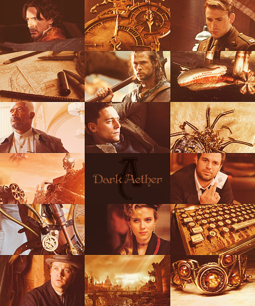 "street-of-mercy:  dark aether | an avengers steampunk au ""We're living in dark times and the end of the world as we know it is almost upon us. Someone unlocked a door that was never supposed to be opened and now evil spills from the aether over into our world. Earth is defenseless and it's up to us to protect it.""  1878. A man's betrayal and thirst for revenge cloak the world in shadows, leaving deep scars wherever he walks as he plays with an unpredictable force – the aether. Commander Fury knows from personal experience what can happen if it is unleashed, destruction is only the beginning and it will end in Armageddon if they do not stop it. For the first time in history, he brings together a group of men and women, superheroes of their own making, to defend Earth. Automatons and rayguns, steam-powered engines and flying machines – these so-called 'Avengers' are prepared to fight the war for those who cannot do it themselves.  Colonel Nicholas Fury – the Commander of A.R.M.O.R. (Alliance of Reinforcement, Masterminding and Operational Rescue), a secret military agency in the United States. A rather violent brush with the aether left him with a permanent mark (white hair) but that doesn't stop him from standing his ground whenever the borders between our world and the aether are blurred. He is determined to keep Earth safe and when King Odin informs him of the prince's deception, Fury sends out his agents to call in the best men and women. Lord Anthony Stark – an aristocrat, adventurer, inventor and mechanic. He's famous for his clockwork weapon systems and steam-powered war engines but the 'Desert Incident' changed him, in more ways than one. As Iron Man he tries to make up for his mistakes and destroys the very machines he once created. When it becomes clear that some parts of the automatons of the prince's army were built by him, Stark doesn't hesitate to join the group. Captain Steve Rogers – the best aviator the world has ever seen. His physically frail body made it difficult for him in the military but as an aviator he finally found his true calling until he became part of 'Project: Resurrection' which used controlled dosages of aether to turn him into the perfect human being. Now he fights the air-pirates on top of the airships and zeppelins rather than piloting them. He's a true gentleman and when Fury seeks him out, Rogers doesn't think twice about becoming part of the team. Prince Loki Laufeyson – adopted son of King Odin of England. His real parents are from the Northern People, whose ancestors experimented with aether and were changed forever into something half-human and something else. He resents his adoptive family, is blinded by the wish for revenge and wants nothing more than to make the world pay. It is him who opens the 'door' to the aether and uses its dark powers to strengthens his army of automatons and air-pirates. Prince Thor Odinson – son of King Odin of England. He is a very skilled fighter and hunter, stronger than the average human due to a light brush with the aether when his father returned from the Northern People with his adoptive brother. After his brother's betrayal, he left England and disappeared into the wilderness of the new world but when the first signs of an invasion appear on the horizon, Thor decides to join forces with A.R.M.O.R. to stop his brother. Doctor Bruce Banner – a scholar and brilliant scientist. He's been researching the aether for years but especially after the incident and his uncontrolled exposure to aether. Even though the 'Other Guy' seems to be violent and wild, he is not, there is still Banner inside, and that proves his theory that the effects aether can have on a person depend on whether someone has a good soul or not. Banner has been hiding in the Badlands to avoid any unnecessary contact with humans but to defend Earth against this new threat, the team needs both of them, the man and the beast. Clint Barton – an agent with A.R.M.O.R. and former street sparrow. His sharp eyes and marksmanship were in great demand even before he became one of Fury's best agents. A few years back he had been sent to eliminate a rogue agent but made a different call and to this day, he has never regretted it. When Loki uses a small dosage of aether to enslave Barton, it is that rogue agent, Romanoff, who brings him back from the abyss when he's attacking the airship. Natasha Romanoff – a spy working for A.R.M.O.R. and former rogue agent. Her reputation of being the perfect killer, who worked for whoever paid the most money, landed her on A.R.M.O.R.'s radar in a bad way and they sent the best to take her out. However, he went against his orders and offered her a chance to wipe out the red in her ledger. She owes Barton a debt and when he's under the influence of the aether, she tries everything to bring him back – with success."