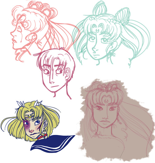 Just a sailor moon sketchdump from the last 2 days. BUHHH MORE MOONS Also I've been drawing Sailor Moon/ Usagi without her famous odango lately. It's kind of fun.