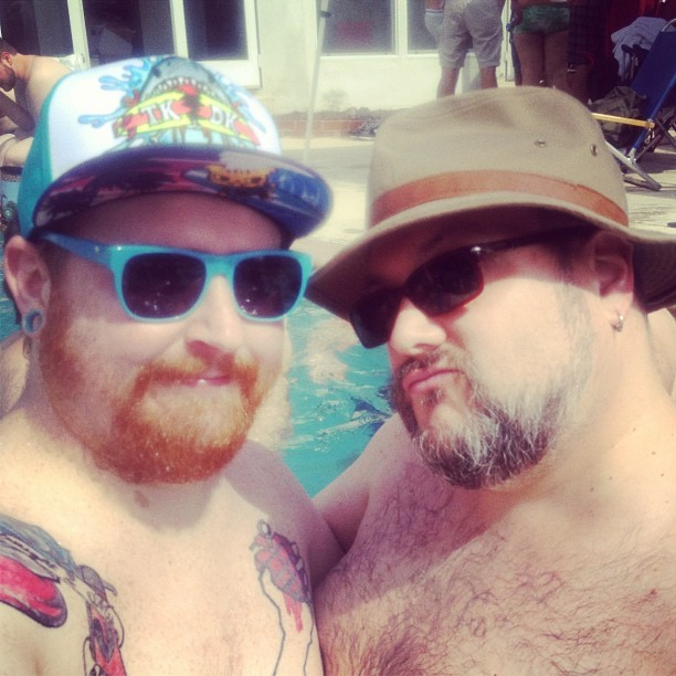 falloutcub:  @davecobb and I having a pool party blast  (Taken with instagram)