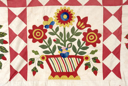 Detail of Perez Baltimore Album quilt top, 1847.