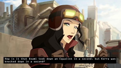 "Confessed by anon. ""How is it that Asami took down an Equalist in a second, but Korra was knocked down in a second?"""