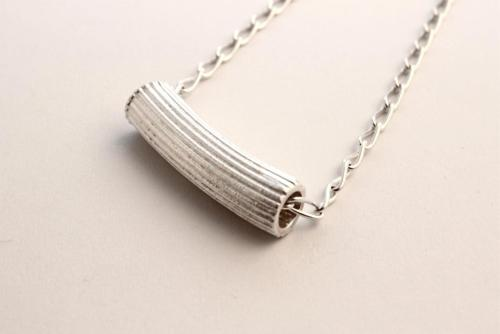 "whitehorsejewellery:  ""Rigatoni Necklace"" by Lucy Folk Sterling Silver Necklace Pendant - 40 x 12mm 46cm Chain Reserve Price $80"