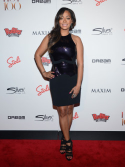 STYLE PROFILE: @LaLa Anthony stuck to all-black at the Maxim Hot 100 Party at Dream Downtown in New York City. For the occasion, she rocked a pair of black strappy sandals and a $3,375 Antonio Berardi Paneled Stretch Crepe Dress: