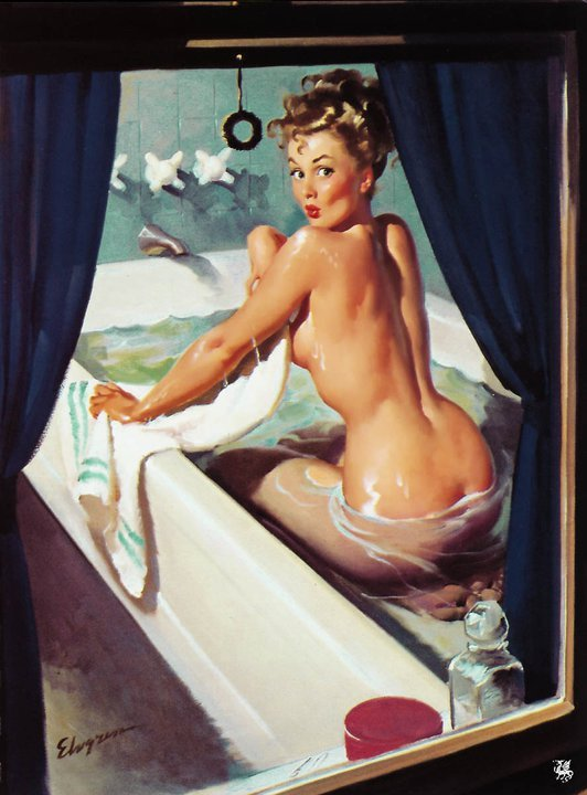 pinupcraze:  Gil Elvgren - Jeepers, Peepers, It's Much Too Hot … 1948