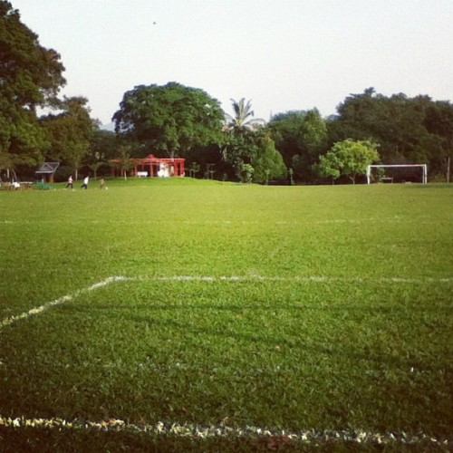 There is always another goal post in front of you, waiting… #green #football #soccer #field #goal (Taken with instagram)