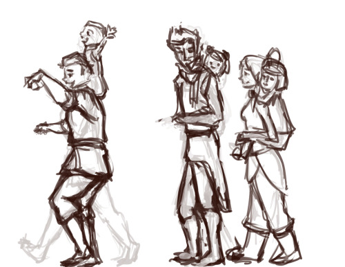 Krew and Kiddies. VERY ROUGH WIP sketch. Thought I'd share a little bit of my process because someone asked for a tutorial.  Right now I have three layers. One was a very rough sketch and is now at low opacity. This is another layer, really just forming the poses. I'll do a few more sketch layers before I do the final fine line.