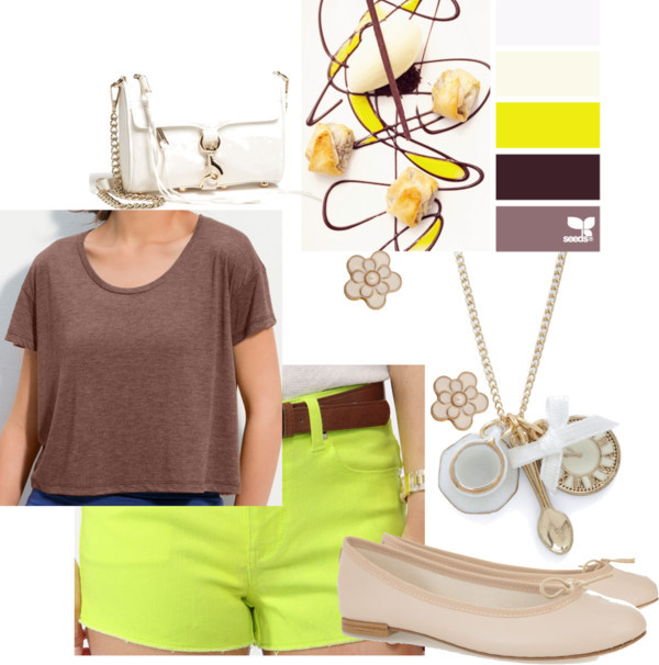 Color Desserts by margaretfrench featuring flat shoes  Frenchi knit top, $12Forever 21 shorts, $20Repetto flat shoes, $265Rebecca Minkoff mini shoulder bag, $195Chain jewelry, $40Forever 21 stud earrings, $1.50   Color palette sourced from the amazing website design seeds