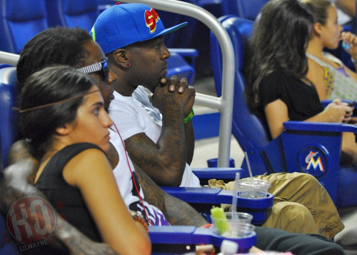 Lil Wayne and Dhea are still together! This pic was took at the San Francisco Giants vs. Miami Marlins game a couple of hours ago - http://www.lilwaynehq.com