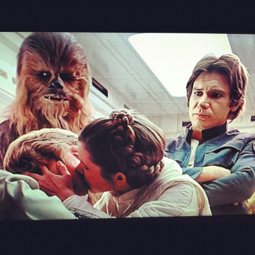 #Awkward! #PrincessLeia #LukeSkywalker #Chewbacca #HanSolo #CarrieFisher #mARKHAMill #HarrisonFord #PeterMayhew #StarWars #TheEmpireStrikesBack #TESB #ESB #kiss #nerd #geek … Yeah I need a new TV … This HD is getting shitty… My HDMI port went out switched to composite… #crappy  (Taken with instagram)